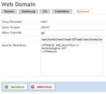 , How to disable Apache mod_security for a website in ISPConfig 3.