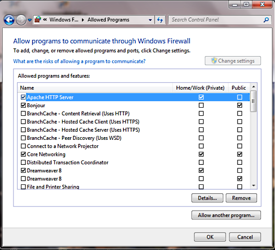 , Use separate configurations by network in the Windows 7 firewall