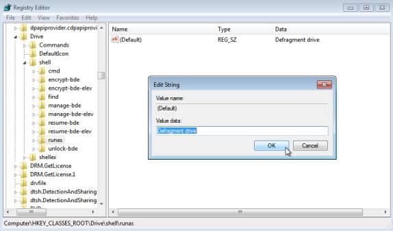 Add Defragment Command to Drives' Context Menu