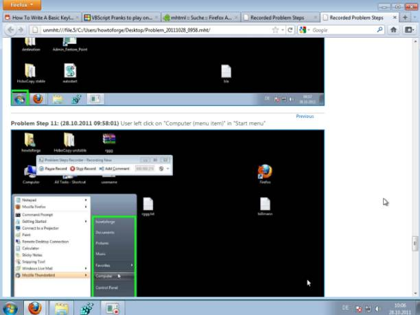 Problem steps recorder in windows 7 for Window recorder