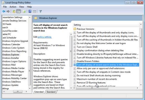, Disable Windows Explorer Search Query Saving (Windows 7)