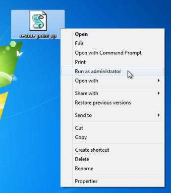 Shortcuts for creating System Restore Points on Windows 7