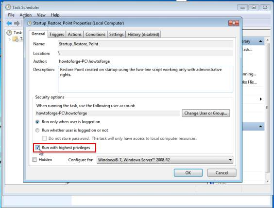 , Shortcuts for creating System Restore Points on Windows 7