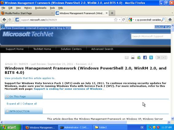 Download updated windows powershell 1. 0 for xp sp3.