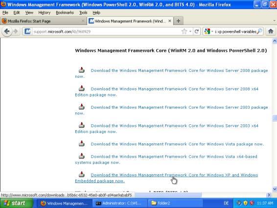 , Installing Powershell 2.0 on Windows XP
