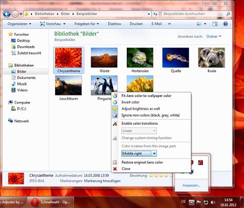 Adjust Aero To Wallpaper Color On Windows 7