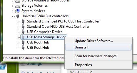 , Uninstall USB Drivers on Windows 7