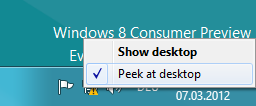 , Enable Peek Preview in Windows 8 Consumer Preview