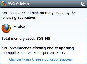 , Disable AVG Advisor memory usage pop-up