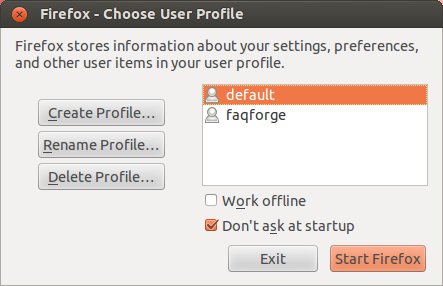 Use different user profiles in Firefox