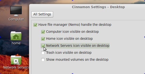 , Add places icons to the desktop in Linux Mint 13 (Cinnamon)