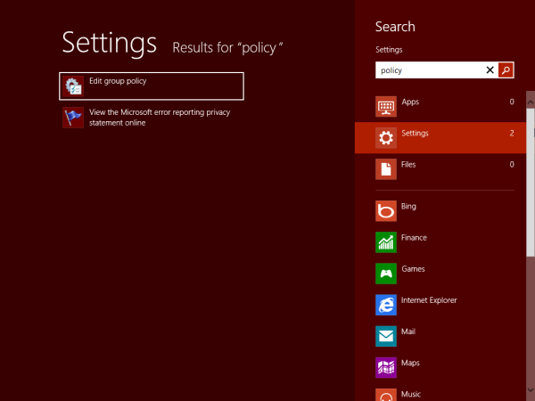 , Open Local Group Policy Editor in Windows 8