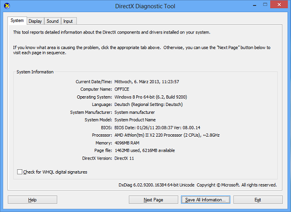 Getting information about your system from dxdiag on Windows