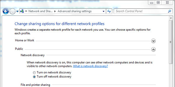 how to turn off network sharing