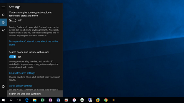 turning off cortana windows 10 pro