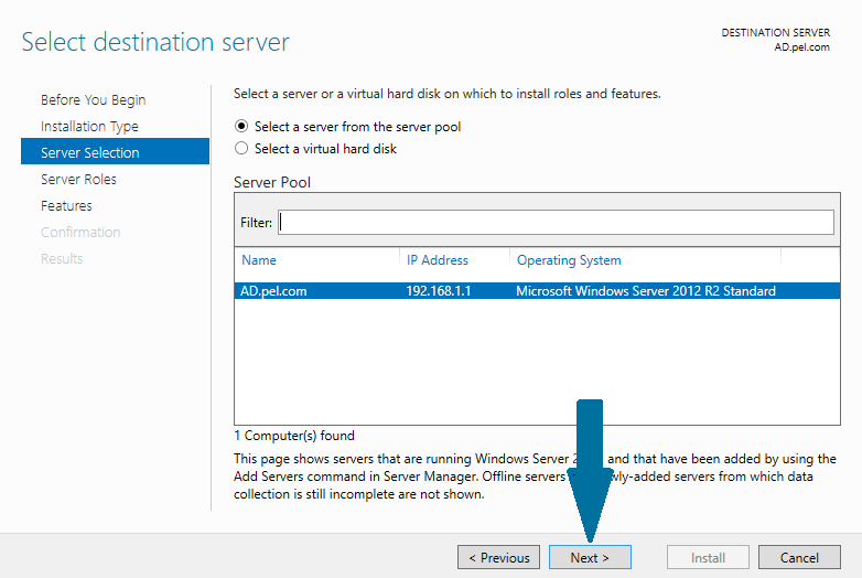 Select the destination server for the DHCP installation