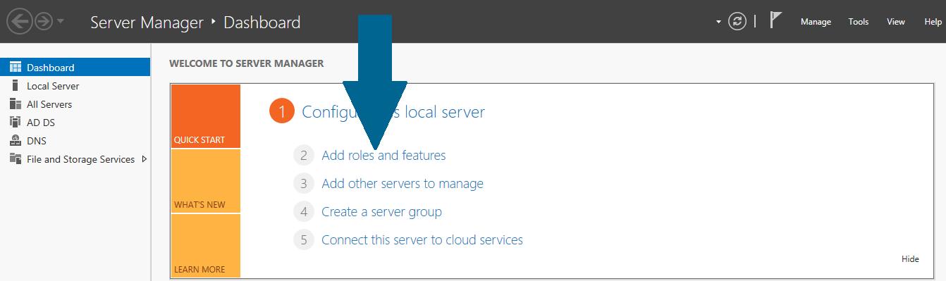 open server manager dashboard