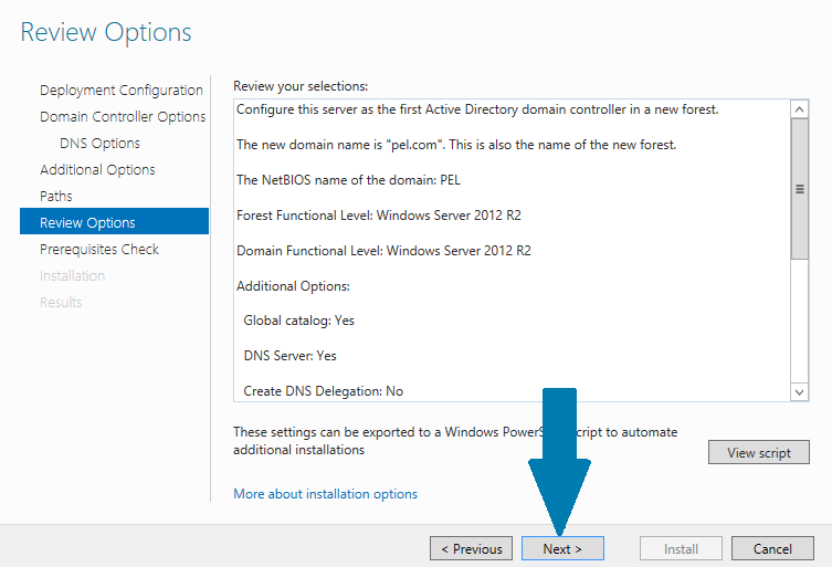 review options window