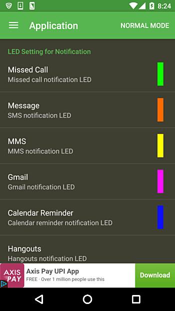 Android LED notification colour