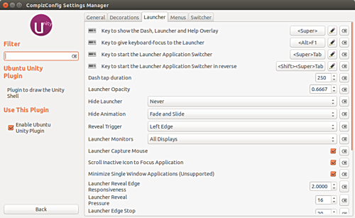 Launcher Tab of the settings manager