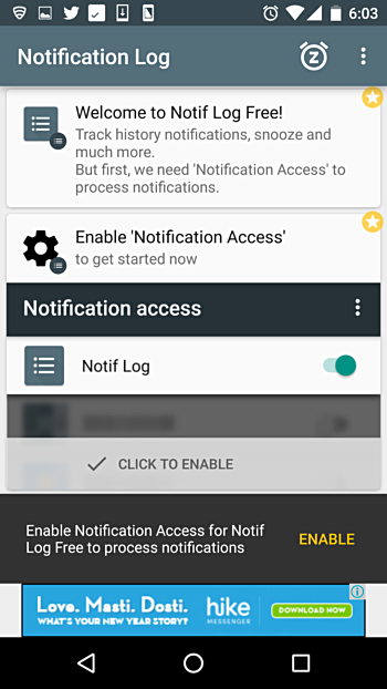 Android Notification Log