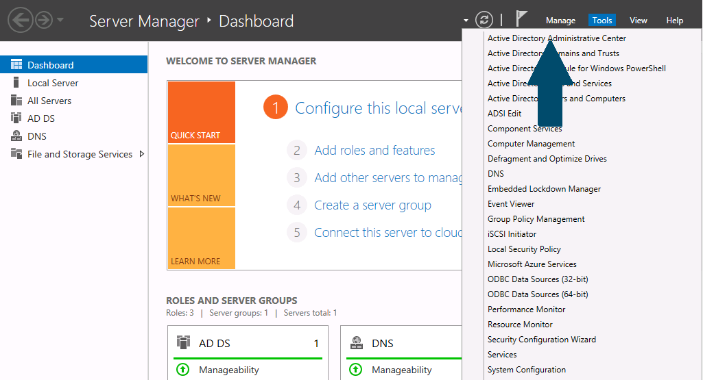 Open the server manager dashboard