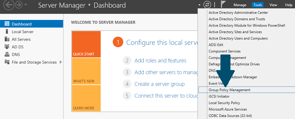 Open server manager dashboard