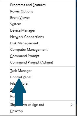 Open the Windows Control Panel