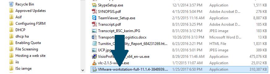 Start VMWare installer