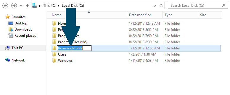 Create a folder on your Windows hard drive