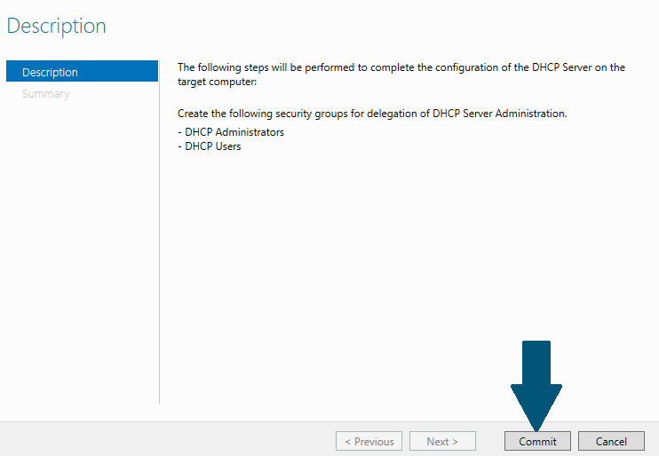 complete the configuration of the DHCP server on the target computer