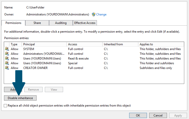 How to Set Correct Permissions to Home Folder in Active