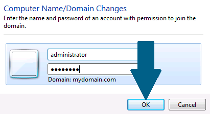 Enter the Windows domain admin credentials