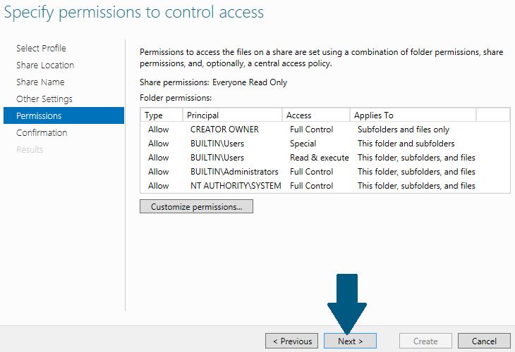 Specify access contols