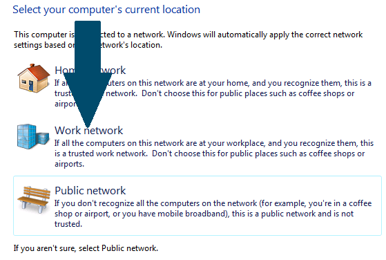 Choose a network option.