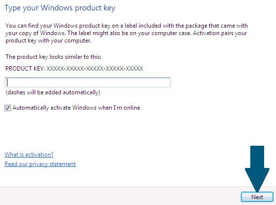 Enter the Windows License Key
