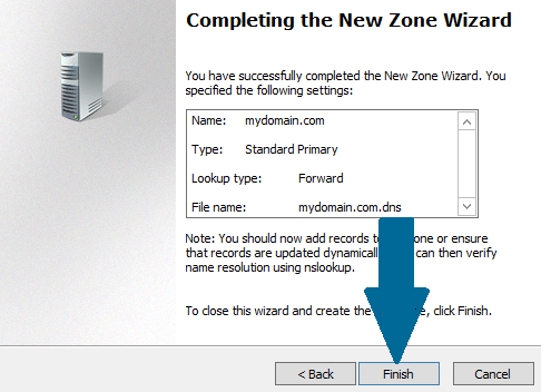 Finish DNS Zone creation