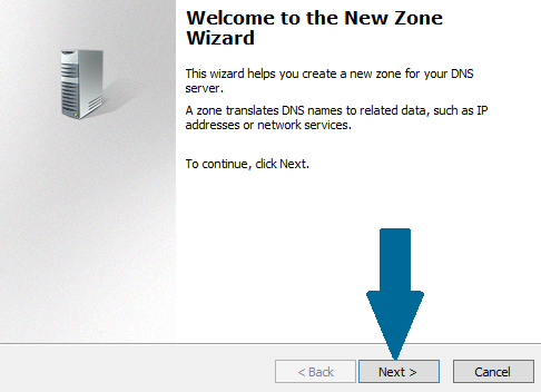 New reverse DNS zone wizard