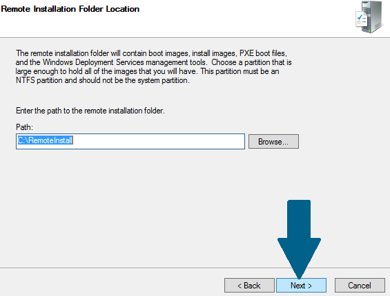 Choose remote installation folder path
