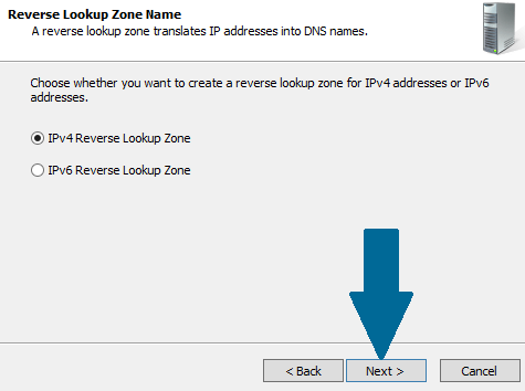 Choose IPv4 Reverse Lookup Zone
