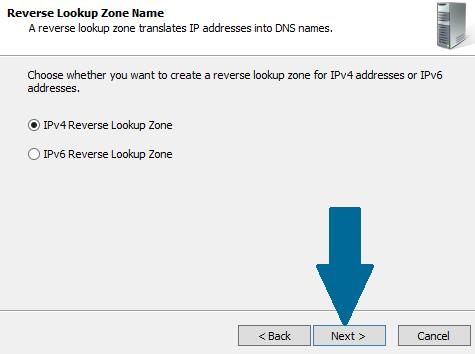 Choose IPv4 Reverse Lookup Zone