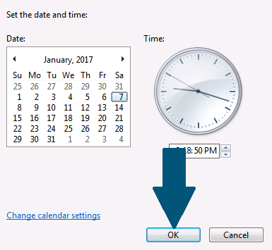 Choose the desired date and time