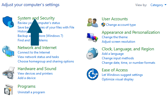 Open th System Security settings