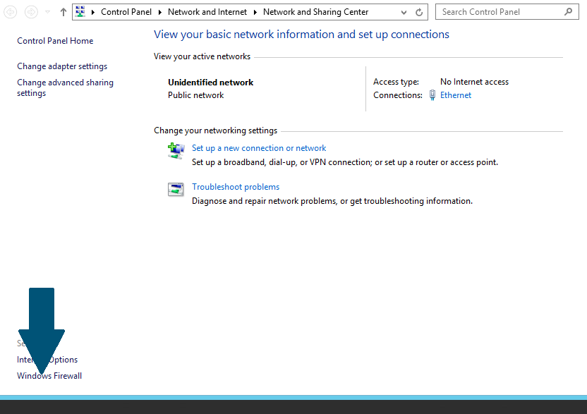 Click on the Windows Firewall button