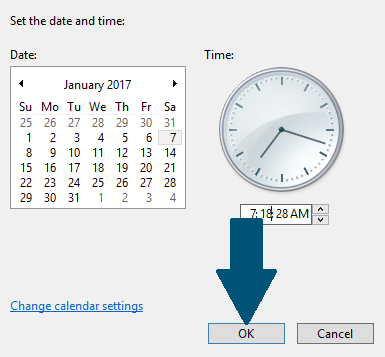 Choose date and time