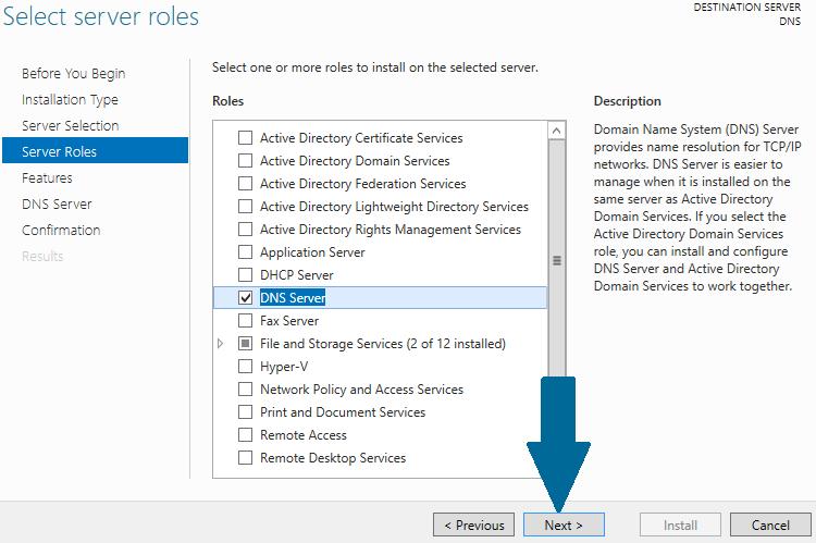 Select DNS server role