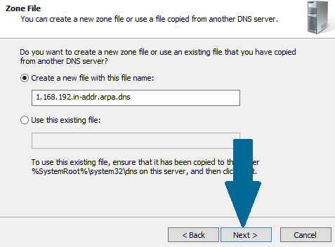 Create a new DNS file with this file name