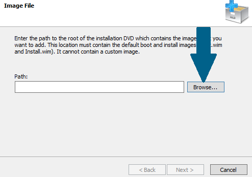 Provide the path of your installation DVD