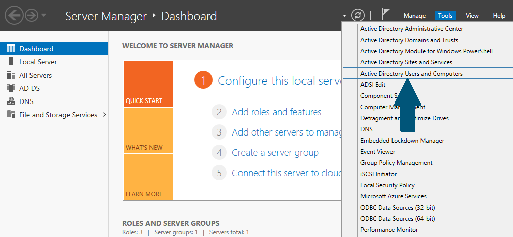 Open tools in server manager