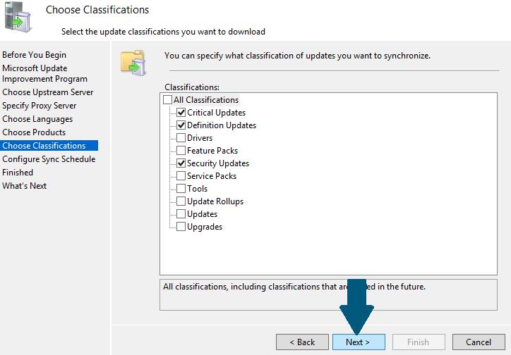 Choose classifications